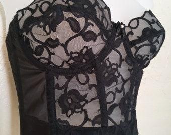 1af898a9db9 Vintage Victoria s Secret Black Lace Bustier Corset