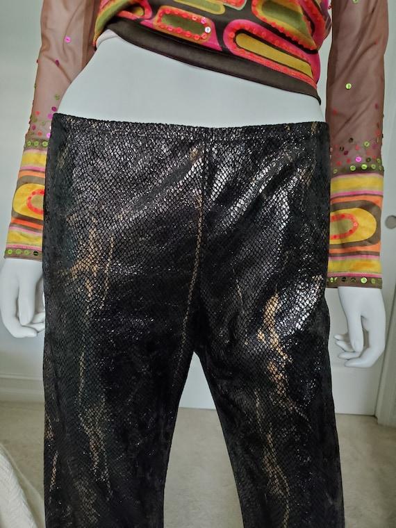 Vtg 90s Carole Little Faux Snakeskin Metallic Pants S