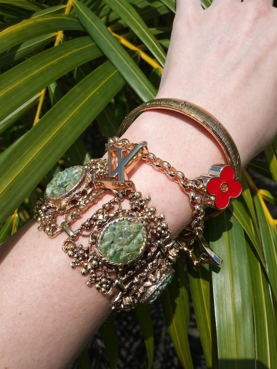 Turquoise Embedded Chunky Gold Bracelet, Dark Acad