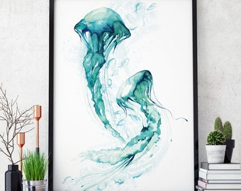 Jellyfish watercolour Painting wall art sea ocean nautical watercolor fish print quality jelly fish print A4 A3 A2 A1 CUSTOM SIZE