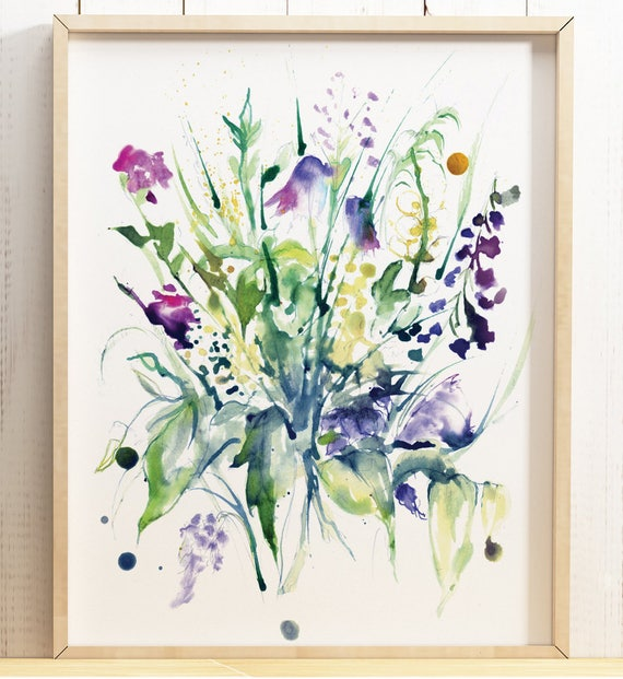 Giclee Print Watercolour Abstract Colourful Wild Flower Etsy