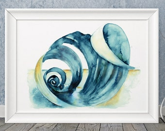 Shell Painting, wall art, sea, ocean, nautical, watercolor, watercolour inky art print, spiral, ANY SIZE A4, A3, A2, A1 perfect gift!