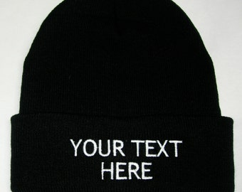 Custom Embroidery (Personalized) Embroidered Name Beanie Knit Cap w Cuff -  BLACK b067778937a