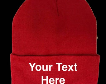 de5162927f7 Custom Embroidery (Personalized) Embroidered Name Beanie Knit Cap w Cuff Red