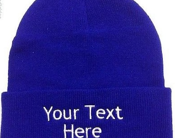518e67dea1a Custom Embroidery (Personalized) Embroidered Name Beanie Knit Cap with  cuff-Royal Blue