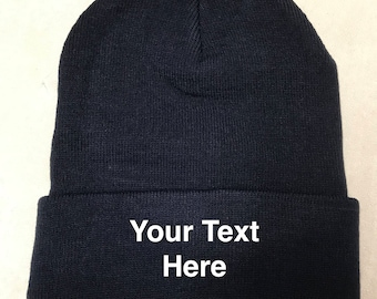de59859f42e Custom Embroidery (Personalized) Embroidered Name Beanie Knit Cap with  cuff-Navy Blue