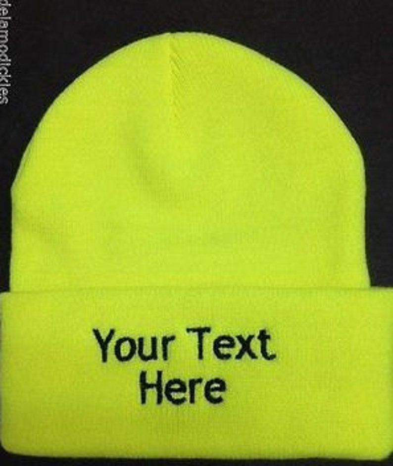 Custom Personalized Embroidered Name Beanie  Knit Cap w//Cuff Yellow