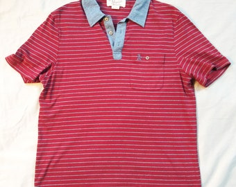 f931e924 Vintage Penguin Mens Red and Blue Striped Polo Shirt