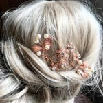 Rose gold Hair Pins, Bridal Hair Accessories, Swarovski Ivory White Pearls, Peony Bridal Headpieces, Wedding hair clips hairpins