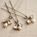 Crystal Bridal Hairpin Set, Crystals and pearls hairpins,  silver hairpin, Bridal hair accessories 1