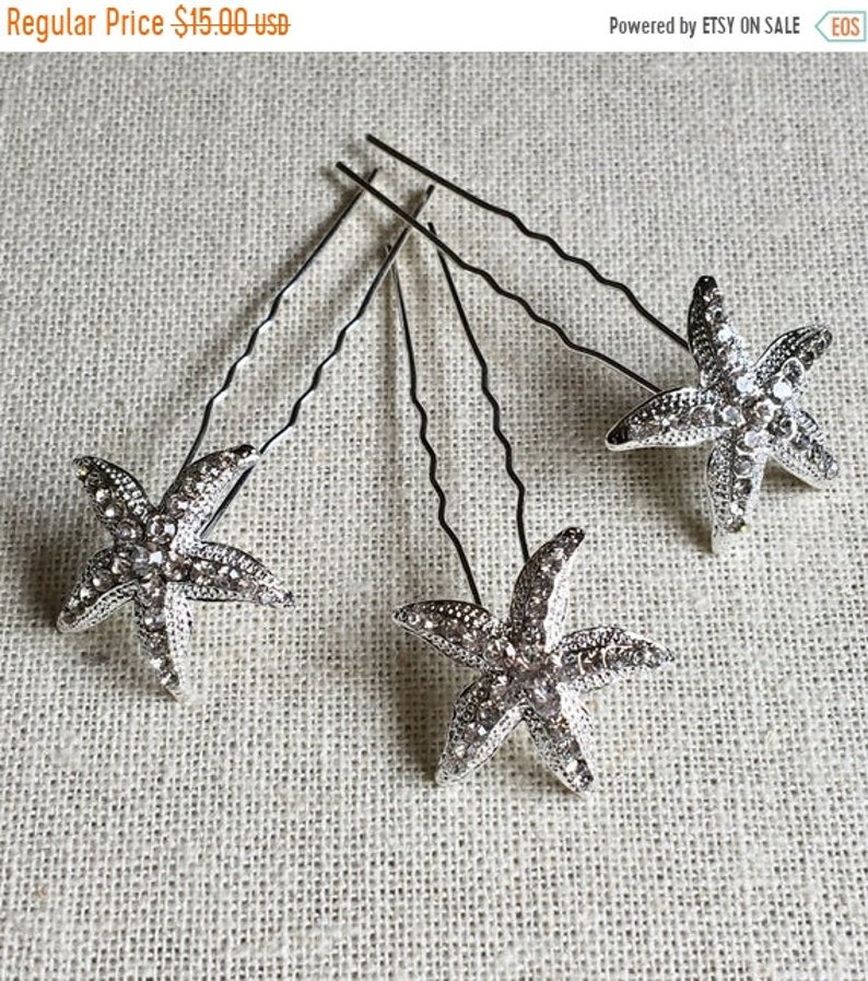 ON SALE 50% OFF Starfish Hairpin Set 3 Crystal hairpins image 0