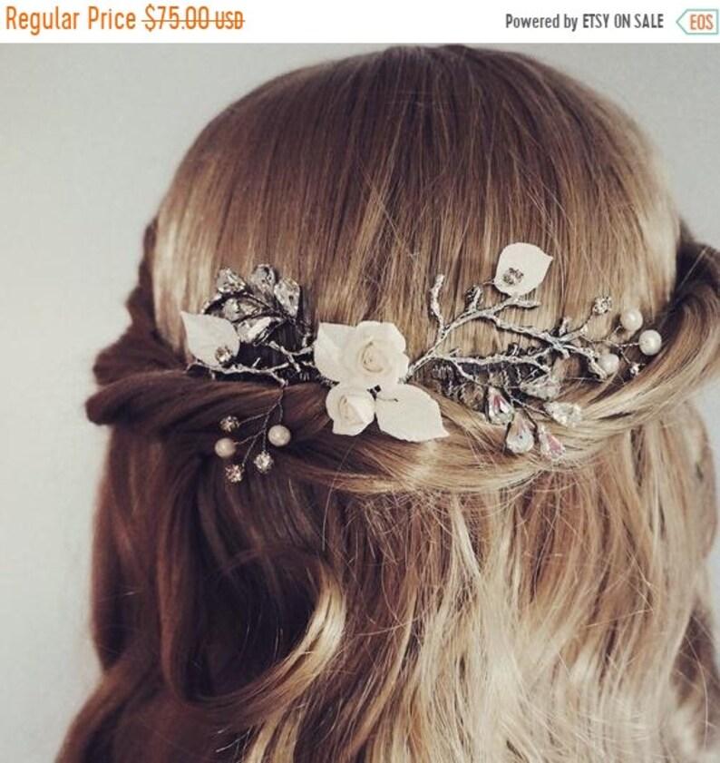 ON SALE 50% OFF Bridal hair vine wedding hair vine image 0