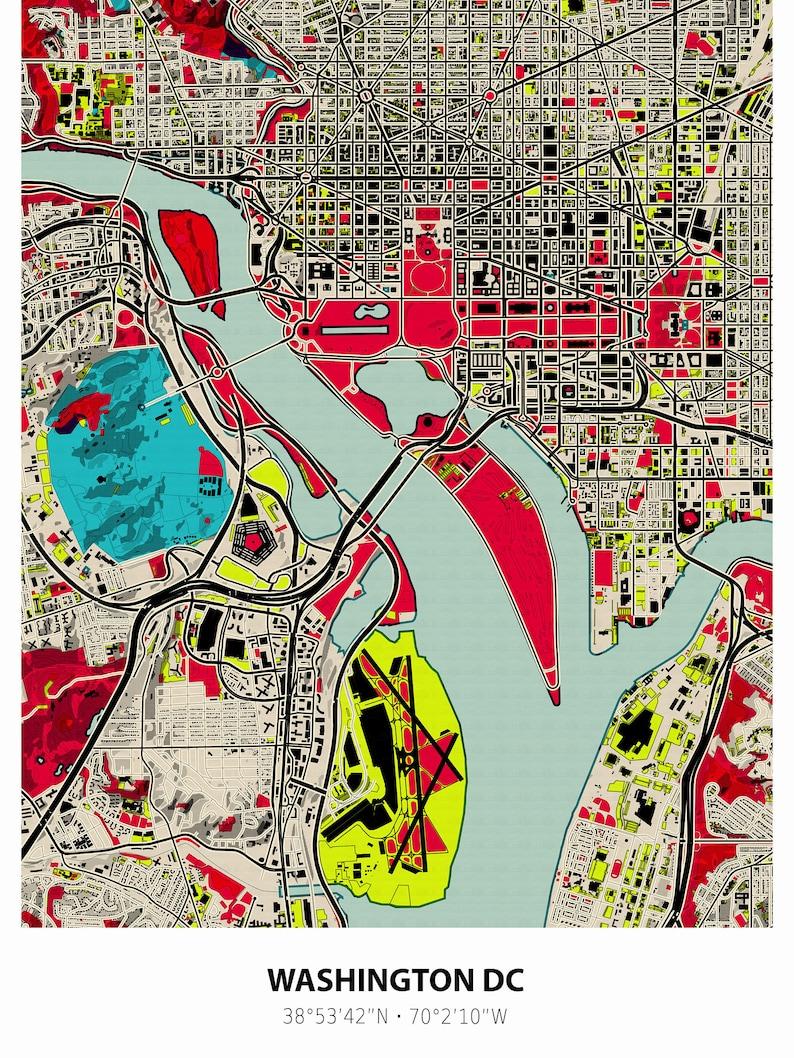 Washington dc map Washington print Washington map | Etsy on