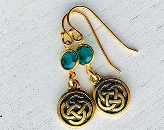 03a0e4822 Small Gold Celtic Knot earrings with emerald green Swarovski crystals /  Antique Gold Irish Celtic Knot earrings / Emerald May birthstone