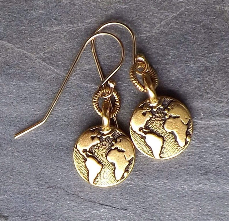 5a0308164461f8 Gold Earth earrings / Small gold plated Earth earrings / Globe | Etsy