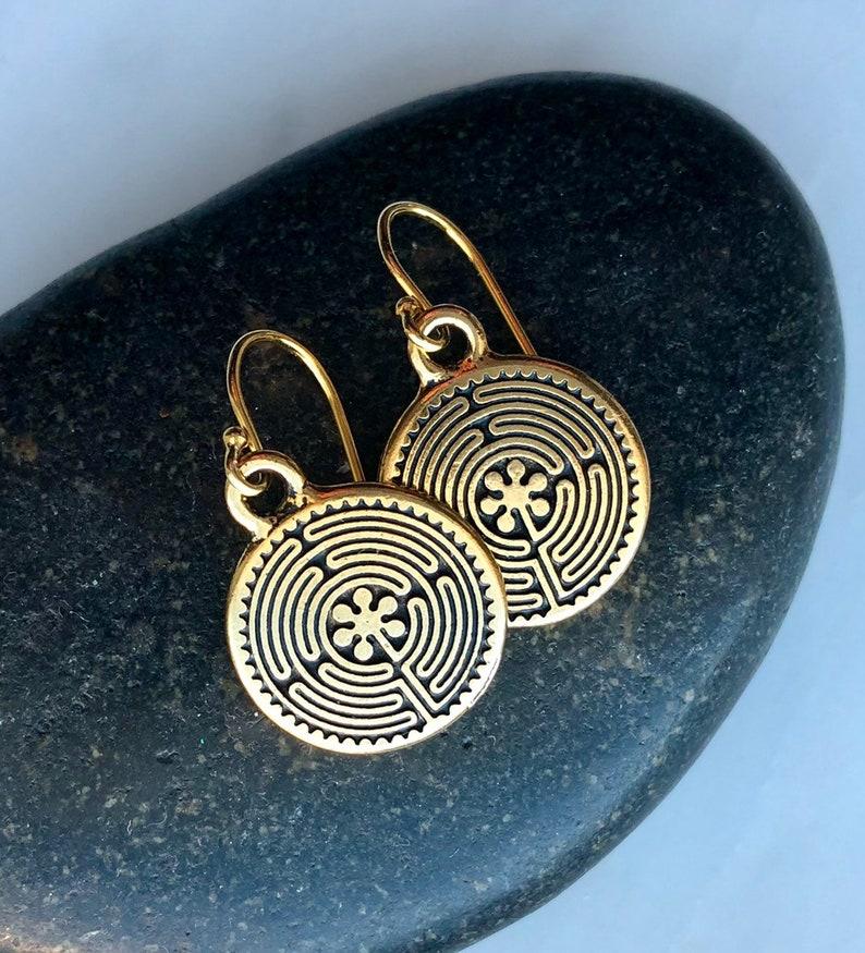 dfdf4c23b Gold Labyrinth earrings / Antique Gold Celtic labyrinth | Etsy