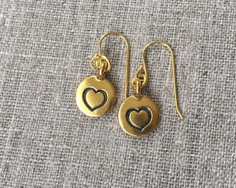Gold Heart earrings / Gold plated etched heart earrings / Gold plated Sterling ear wires / Valentines Day / Valentine Gift / Hearts