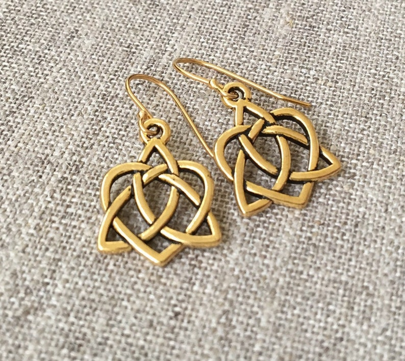 aef9af9ec Celtic Open Heart Earrings / Small Antique Gold Celtic Heart | Etsy