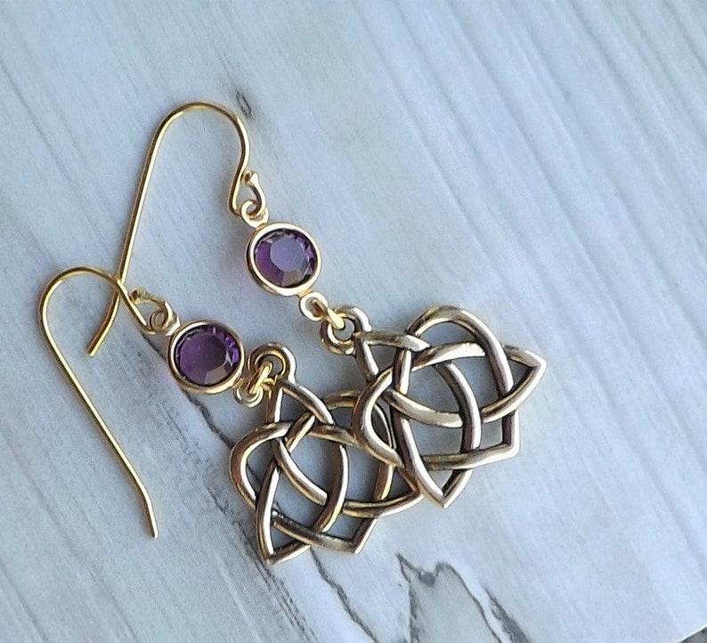 f44a89f56 Celtic Open Hearts Amethyst Crystal earrings / Antique Gold | Etsy