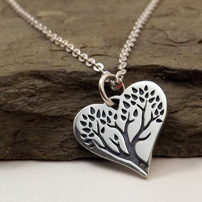 c4044ca0cc Silver Heart Tree of Life necklace / Tree of Life Heart | Etsy