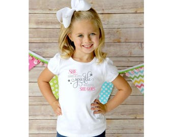 She leaves a little sparkle wherever she goes baby bodsuit, toddler shirt