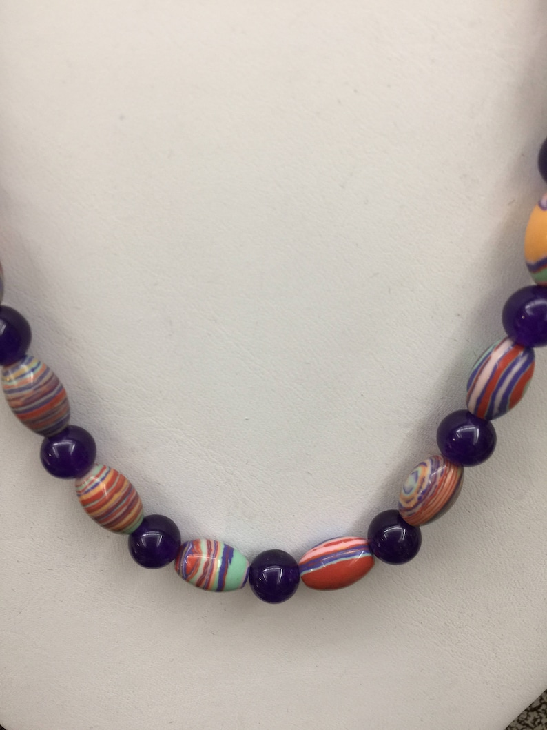 Semi Precious Turquoise and Amethyst Necklace 24 Long image 0
