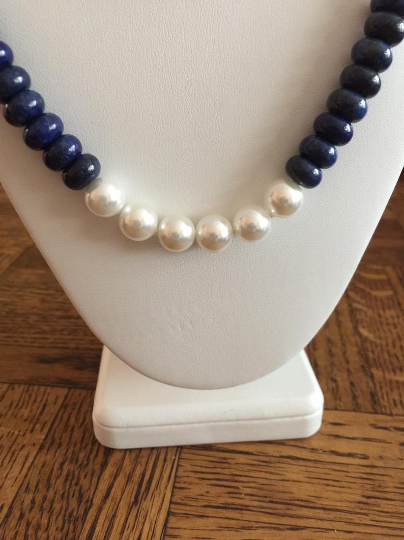 Semi Precious Lapis Lazuli and Fresh Water Pearl Necklace 20 Long
