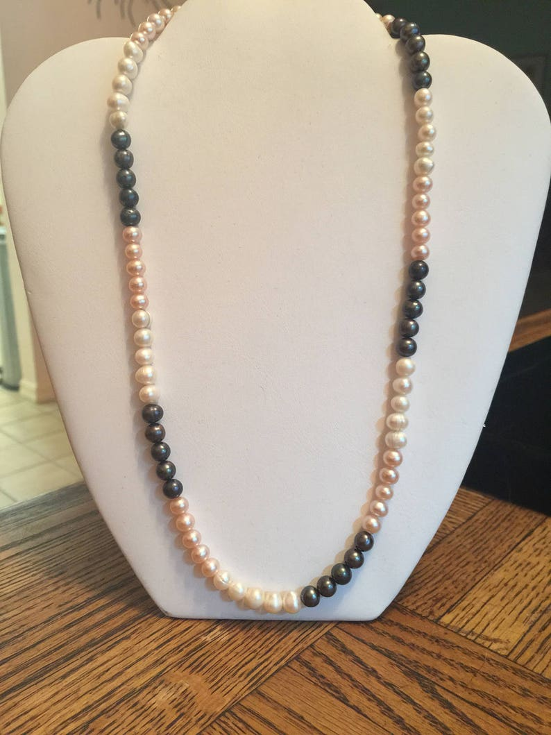 Semi Precious Tricolor Pearl  Necklace 20  Long image 0