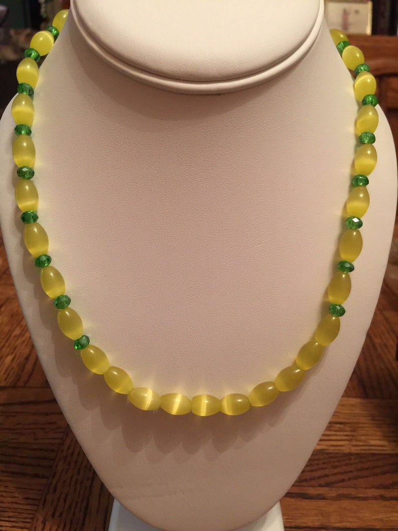 Semi Precious Yellow Cat's Eye and Emerald Necklace image 0