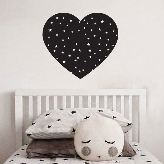 black heart and white stars wall decal nursery decal | etsy