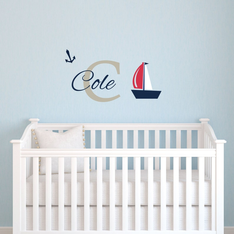Custom Sail Boat Name Monogram Wall Decal Removable Vinyl Lettering  Sticker for Kids Bedroom, Ship Personalized Wall Decal
