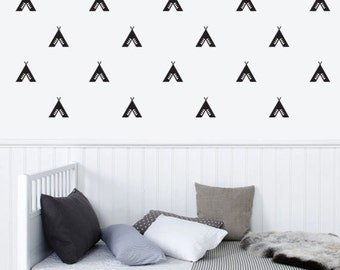 Patterned Tee pee wall Decal, Removable Wall Sticker, Vinyl Decal for Kids, Nursery wall decor