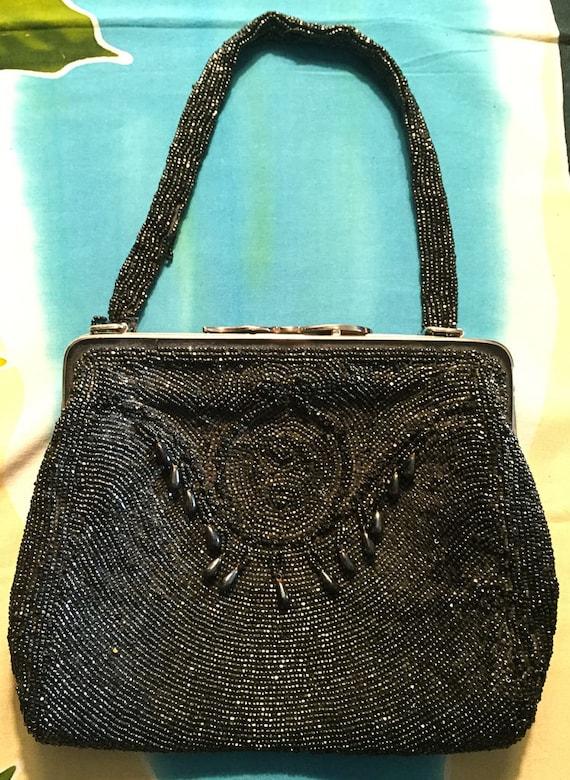 Vintage 1950s 1960s black beaded cocktail purse Handmade in Belgium