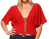 Red Sexy Plus Size Lace C...