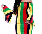 Rasta Clothing Off Shoulder Bell Sleeve Bodycon Dress - Free Shipping