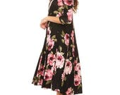 Floral Printed Dress A-Line - Free Shipping