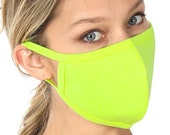 5 For 1 Quality Washable Face Mask Neon Lime Cotton Spandex Stretchy - Free Shipping