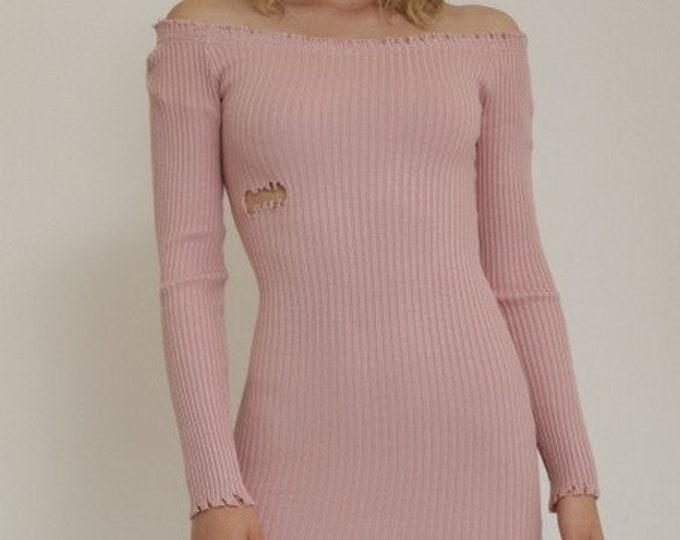 Dusty Pink Destroyed Club Dress