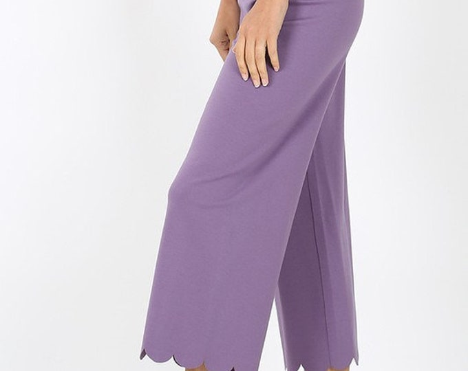 2 For 1 Heavy Ponte High Rise Scallop Crop Pants