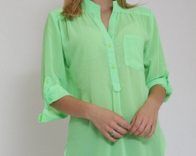 Neon Lime Blouse Top