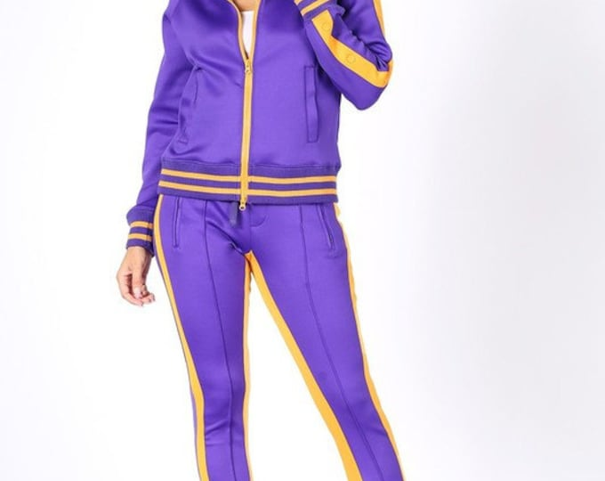 Purple and Gold Jacket and Pants Jogger 2 Piece Set
