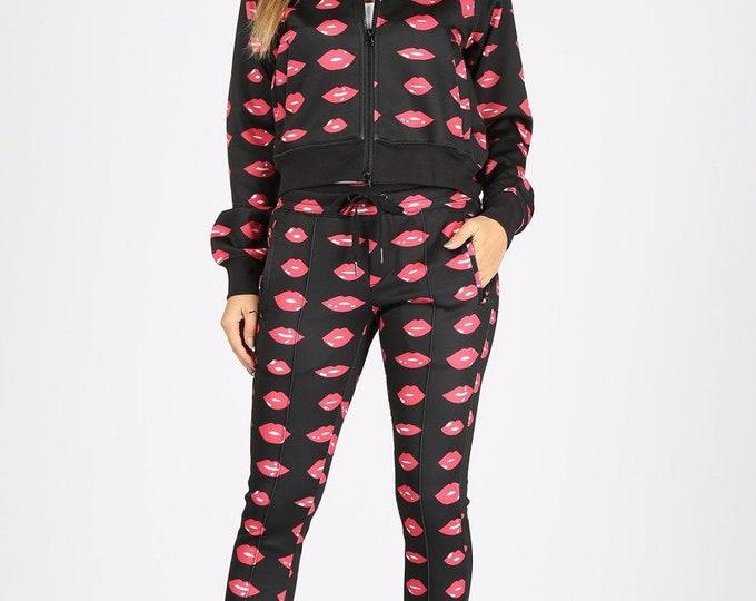 Lips Jacket and Pants Jogger 2 Piece Set