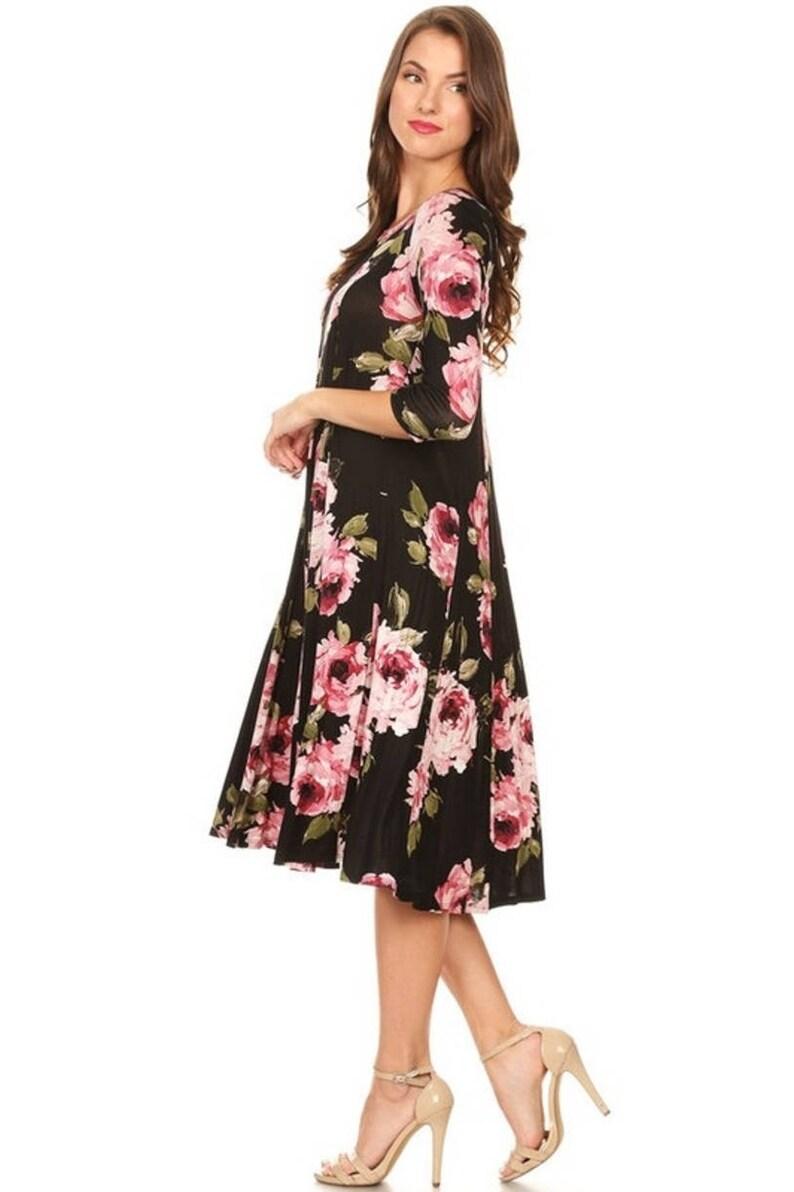 c473ac66cc07 Black Dress A-Line Floral Dresses Free Shipping
