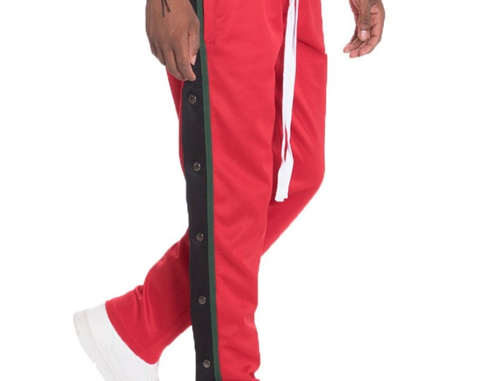 Snap Button Jogger Pants For Men Sweat Pants Red