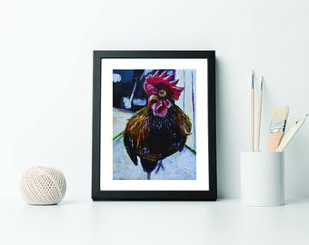 Rooster Art - Rooster Print - 8x10 Rooster Artwork - Rooster Wall Art - Rooster Kitchen Decor- Cabin Decor - Country Decor