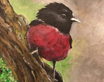 "ORIGINAL Acrylic Painting ""Friendly Bird"""