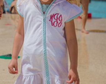 7f59e811298a9 Girls Monogrammed Swimsuit Coverup, Toddler Girls Terry Cloth Swim Coverup  Dress, Gingham Swimsuit Coverup, Seersucker Coverup Dress