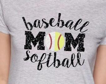 Glitter Baseball Softball Mom Shirt, Softball Mom Shirt, Baseball Mom Shirt, Glitter Baseball and Softball Mom, T-Shirt