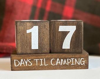 Wooden Countdown, Days til, Weeks til, Camping Countdown, Countdown Blocks, Days til camping, Days til Vacation, Vacation Countdown, Blocks