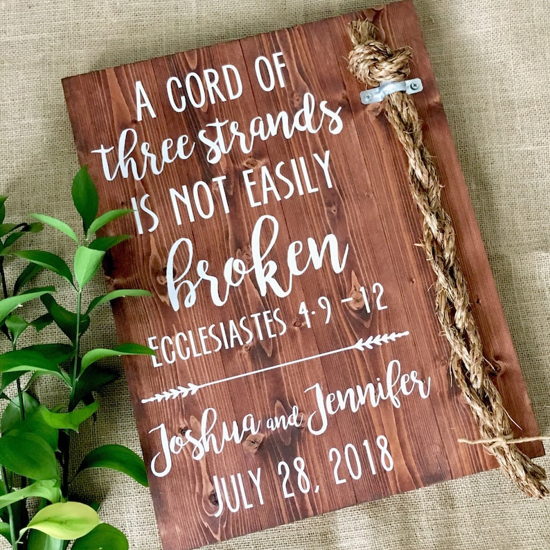 Wedding Rope Sign, Cord of Three Strands Sign, Wedding Sign, Ecclesiastes  4:9-12, Wedding Ceremony Sign, 3 Cords Sign, Wedding Gift, 3 Cords